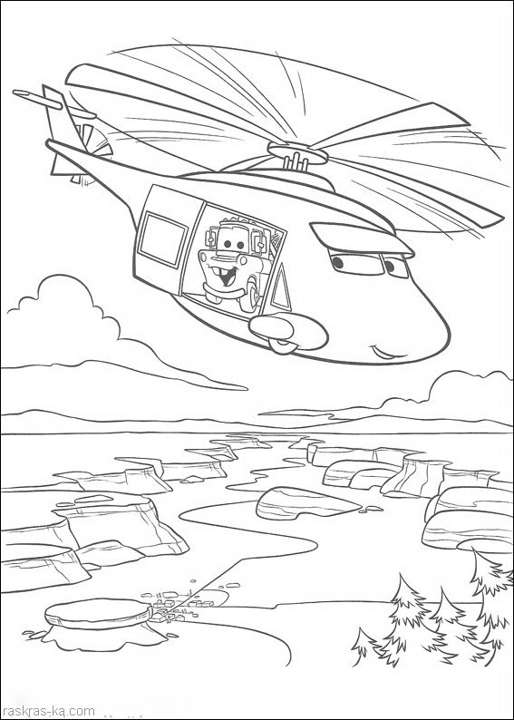 Раскраски Тачки. Мэтр на вертолете