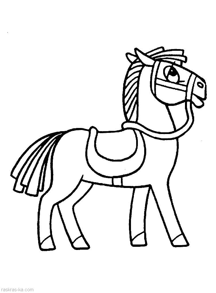 Распечатать раскраски лошадку
