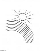 Раскраски о природе для самых маленьких. Радуга и солнце