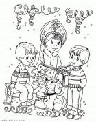 Снегурочка на празднике у детей. Раскраска